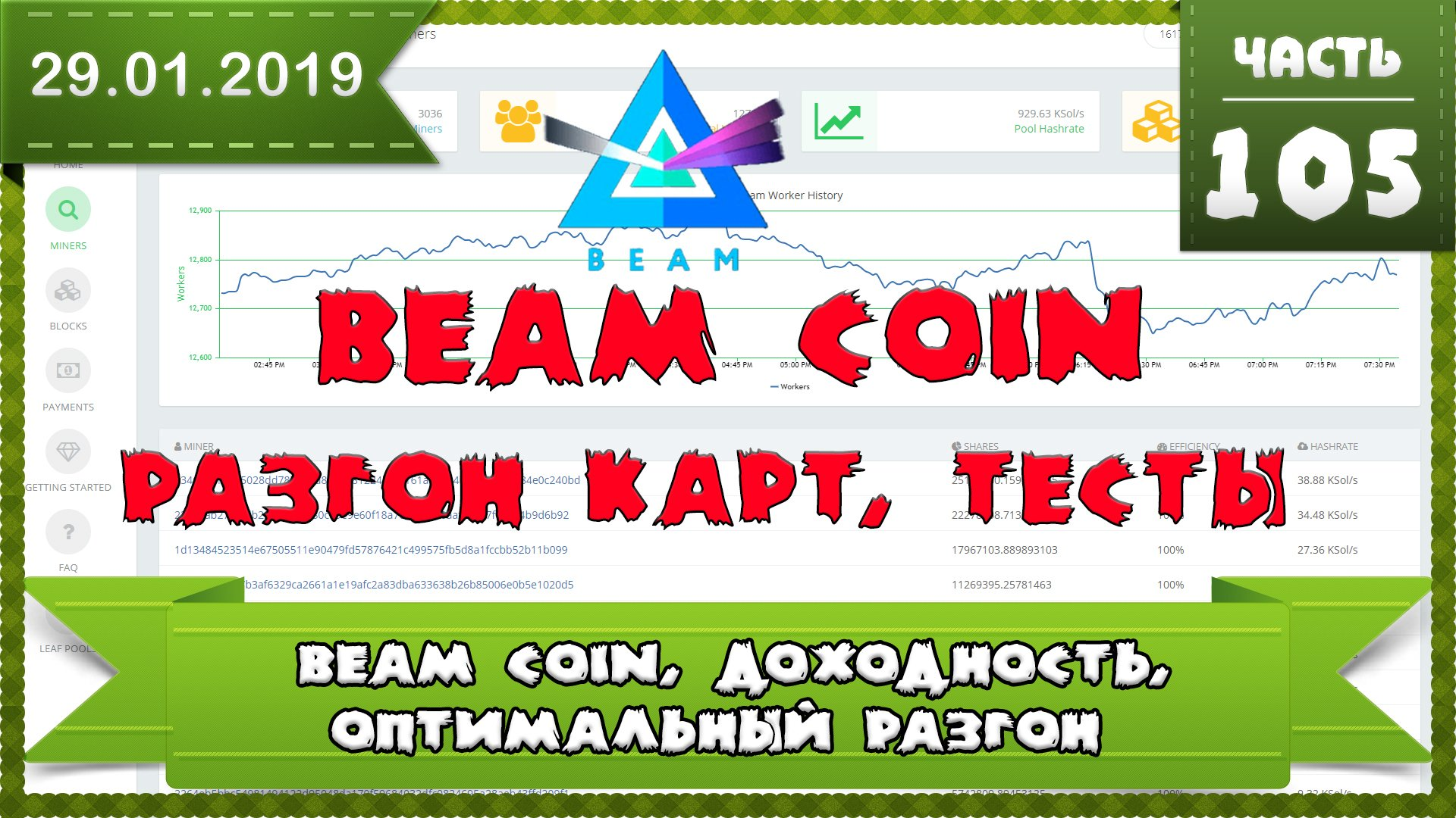 Доходность монеты BEAM, тесты разгона под монету BEAM, оптимальный разгон видеокарты GTX 1060